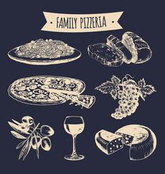 Italian cuisine menu hand sketched traditional vector