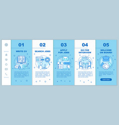 Job searching onboarding mobile web pages vector
