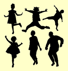 Jumping and sport people action silhouette vector
