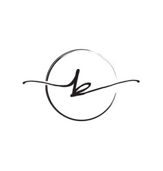 Letter b lowercase handwriting wiith circle brush vector