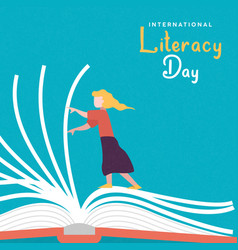 Literacy day card girl turning open book pages vector