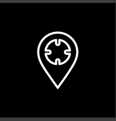 locator line icon on black background black flat vector image