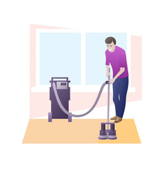 Man cleans carpet with professional equipment vector