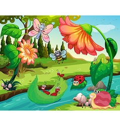 Many insects living by the river vector image