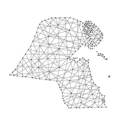 Map of kuwait from polygonal black lines and dots vector