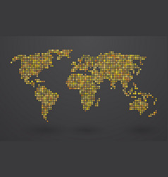 Map of world composed of small yellow polka dots vector