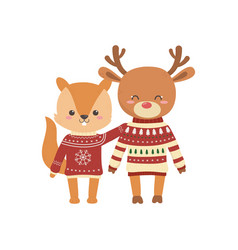 merry christmas celebration cute squirrel and deer vector image