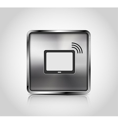 Metal icon tablet pc wireless connection vector image