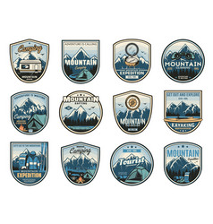 Mountain camping expedition travel adventure icons vector