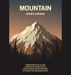 Mountain landscape and forest poster vector