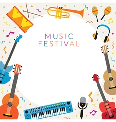 Music Instruments Objects Frame vector image