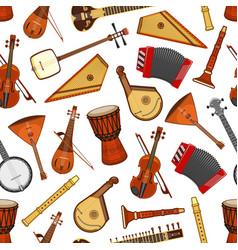 Musical instruments folk music seamless pattern vector