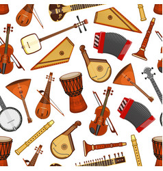 Musical instruments of folk music seamless pattern vector