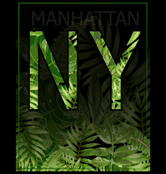 new york manhattan typography with floral t vector image