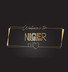 niger welcome to golden text neon lettering vector image
