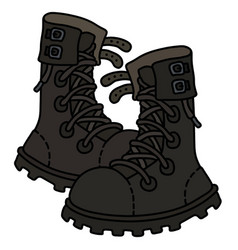 old black heavy military shoes vector image