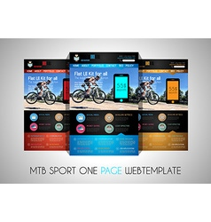 One page SPORT website flat UI design template vector