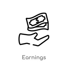 Outline earnings icon isolated black simple line vector