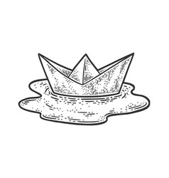 Paper boat in a puddle sketch vector