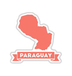 Paper sticker on white background map of paraguay vector