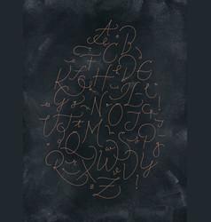 pen line alphabet dark vector image