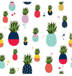pineapple fruit fun color pattern background vector image