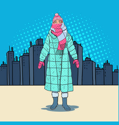 pop art beautiful woman in warm winter clothes vector image