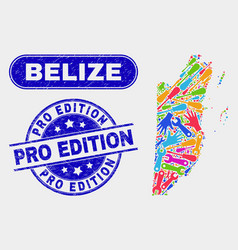 Production belize map and distress pro edition vector