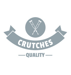 Quality crutches logo simple gray style vector