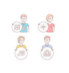 Quick tips cleaning and parcel delivery icons vector
