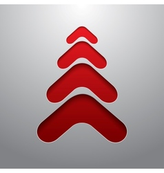 Red techno 3d christmas tree vector image