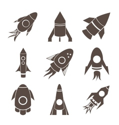 rockets icons set on white background vector image