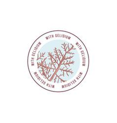 Round emblem with hand drawn gelidium algae vector