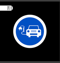 Round sign white thin line electrical car sign vector