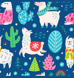 seamless christmas pattern with cute cartoon vector image