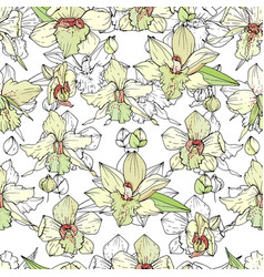 Seamless pattern with white orchids endless vector