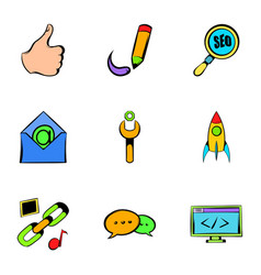 seo icons set cartoon style vector image