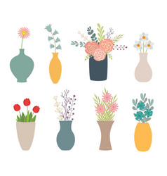 Set flowers in vases on white vector