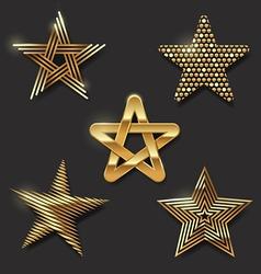 Set golden decorative stars vector