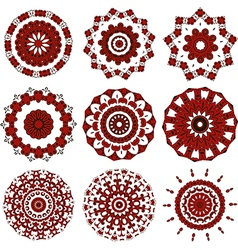 Set of black and red mandalas vector image