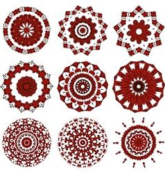 Set of black and red mandalas vector image vector image