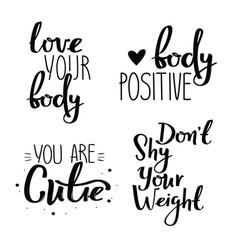 Set of body positive handwritten posters vector