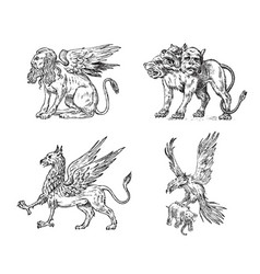 set of mythological animals cerberus sphinx vector image