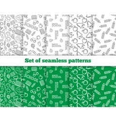 Set of seamless patterns back to school vector