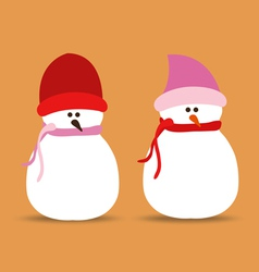 set of snowmans for christmas design vector image