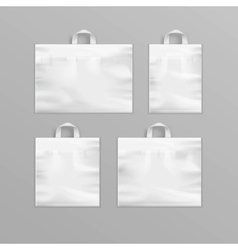 Set of White Reusable Plastic Shopping Bags vector image