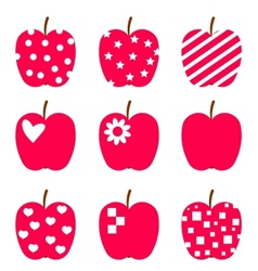 set red apples stylized icons isolated on white vector image