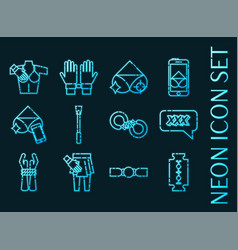Sexual vio set icons blue glowing neon style vector