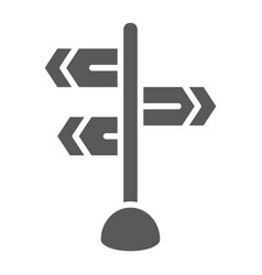 Signpost glyph icon direction and sign guidepost vector