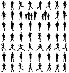 Silhouettes of running vector